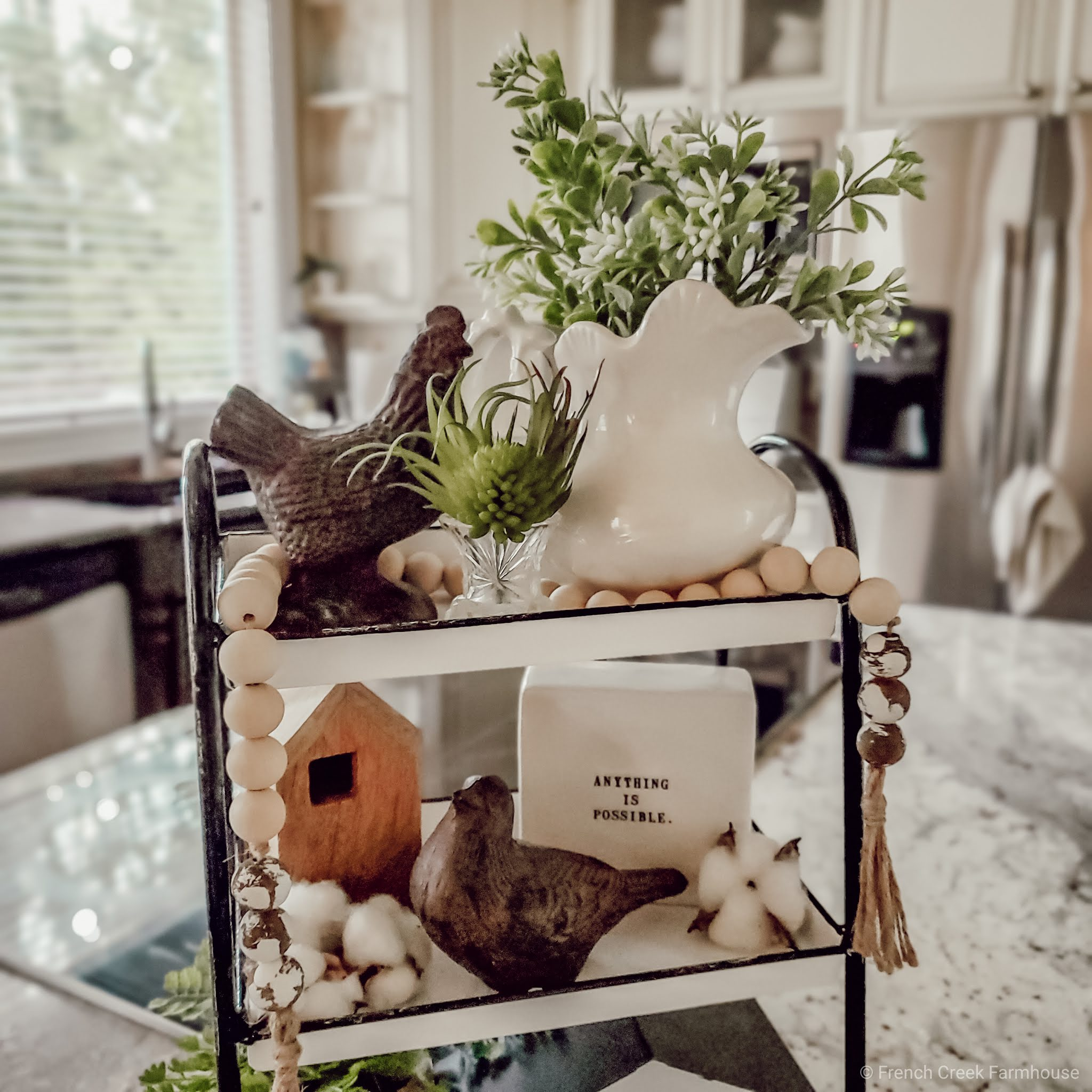 Tiered tray with birds and Rae Dunn decor