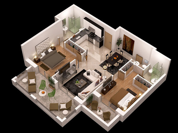 Custom Stylish Modern House 3D Floor Plans - Decor Units