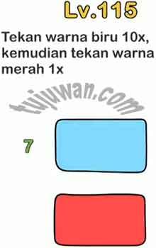 Jawaban Brain Out level 115 Tekan Warna Biru 10x Kemudian Tekan Warna Merah 1x