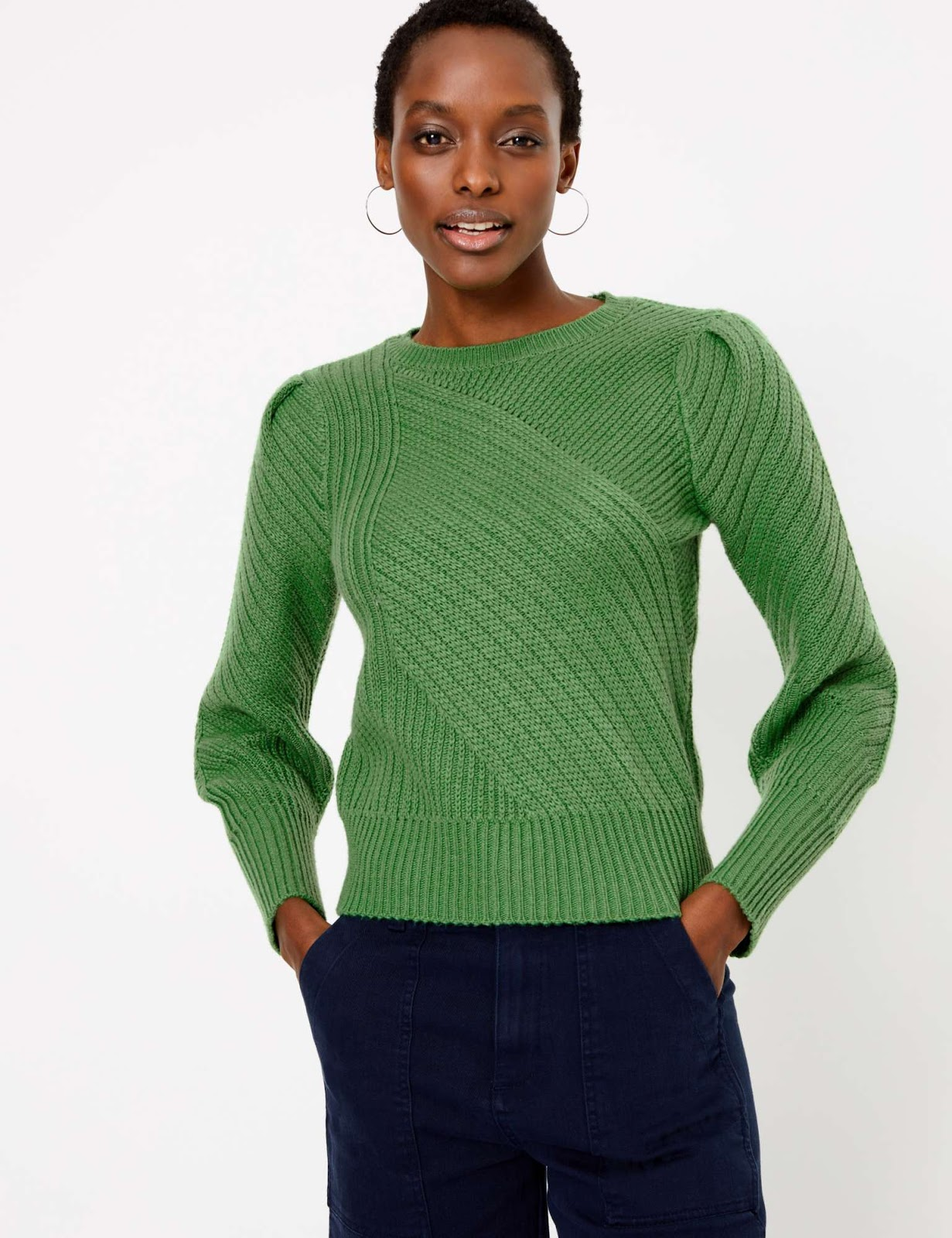 Marks and Spencer ribbed blouson sleeve jumper