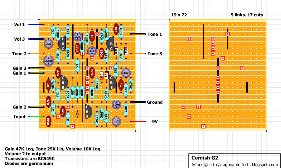 guitar fx layouts cornish g and the wiring diagram for buffered bypass all the peripheral wiring removed to simplify it you can see the first two poles are linked meaning that if