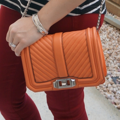 burgundy jeans with orange bag Rebecca Minkoff chevron quilted small Love crossbody bag in pale coral | awayfromtheblue