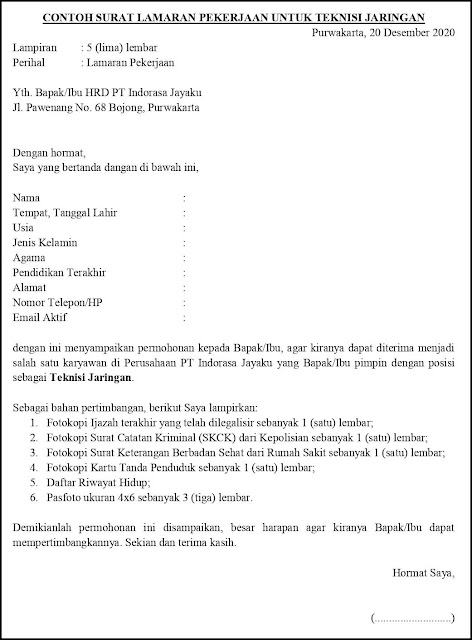 Contoh Surat Lamaran Pekerjaan Untuk Instalasi, Pemeliharaan dan Perbaikan