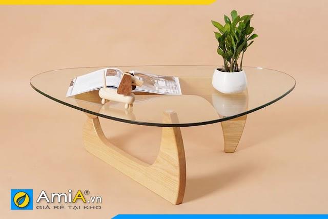 BTR0120 Mẫu bàn trà nhỏ xinh mặt kính chân gỗ nghệ thuật