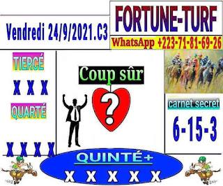Pronostics quinté+ pmu vendredi Paris-Turf TV-100 % 24/09/2021