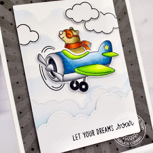 Sunny Studio Stamps: Plane Awesome Fluffy Clouds Border Dies Let Your Dreams Soar Card by Angelica Conrad