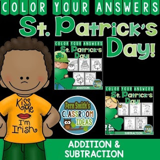 MORE St. Patrick's Day Color By Number Addition and Subtraction Bundle