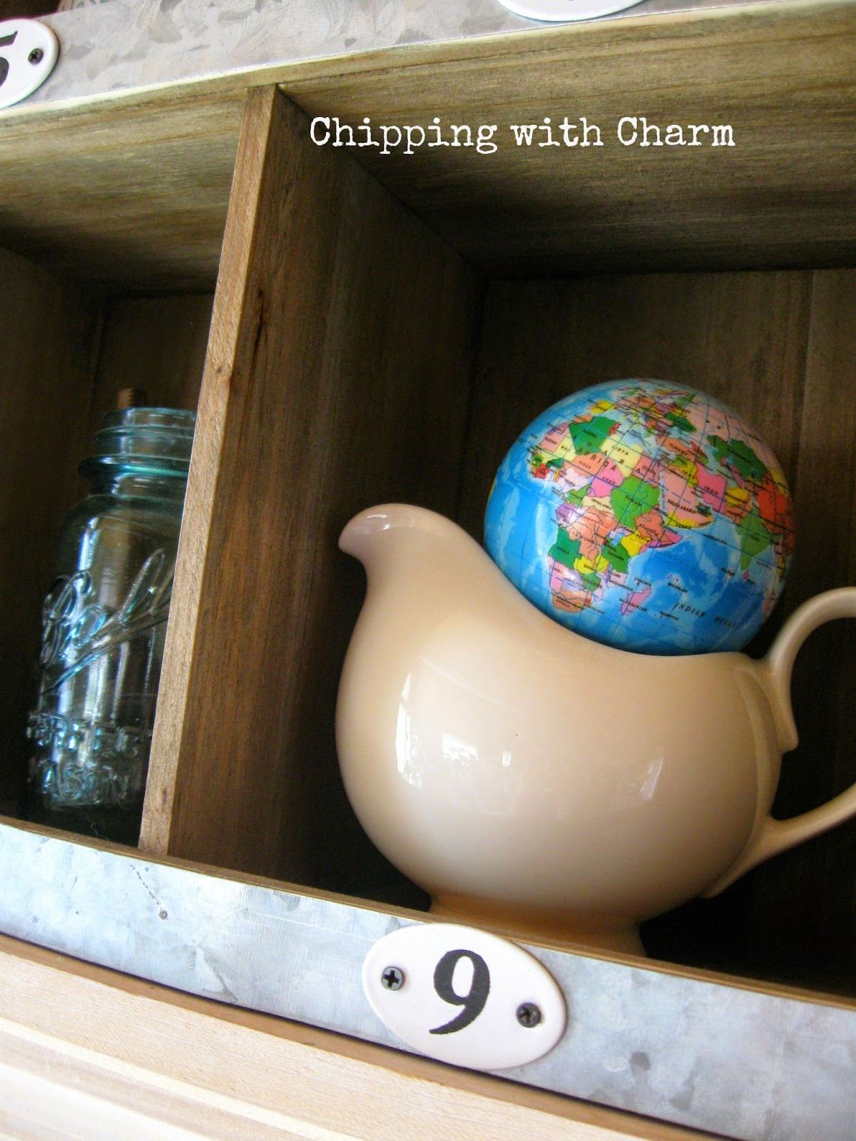 Chipping with Charm:  Spring Mantel, Globe Balls...www.chippingwithcharm.blogspot.com