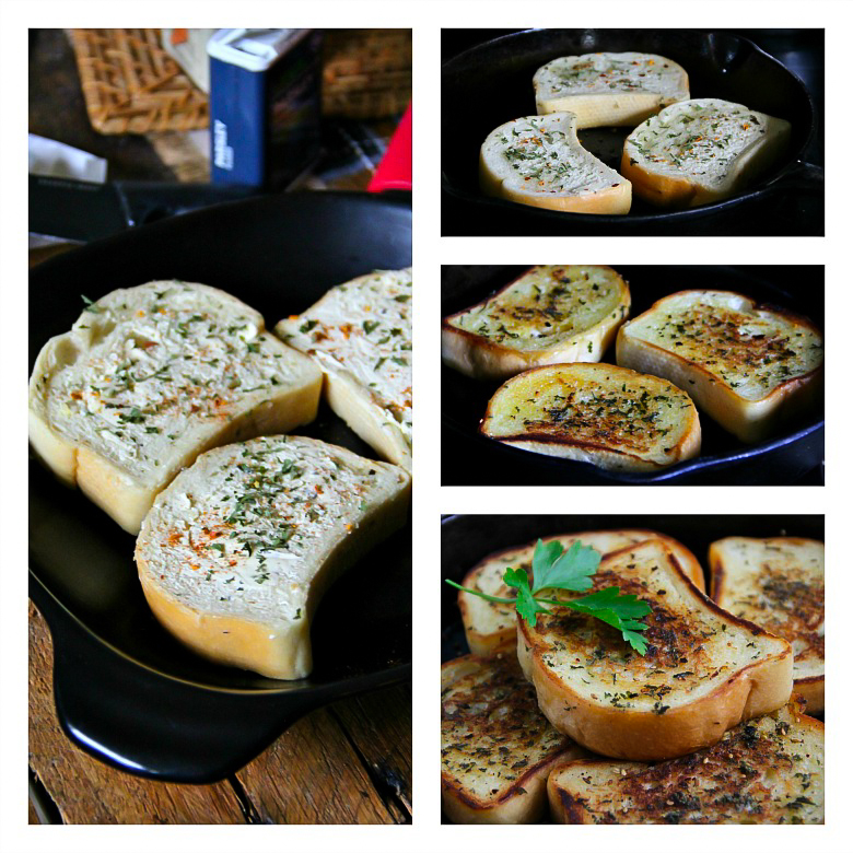 Skillet Toasted Garlic Bread - Sandra's Easy Cooking