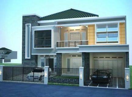 Rumah minimalis 2 lantai atap limasan dengan 2 garase