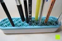 Inhalt: Schmink- und Kosmetikpinselhalterung aus Silikon, Halterung für Makeup, Pinsel, zum Trocknen und Halten, Kosmetikartikel, praktisch und schön - turquoise