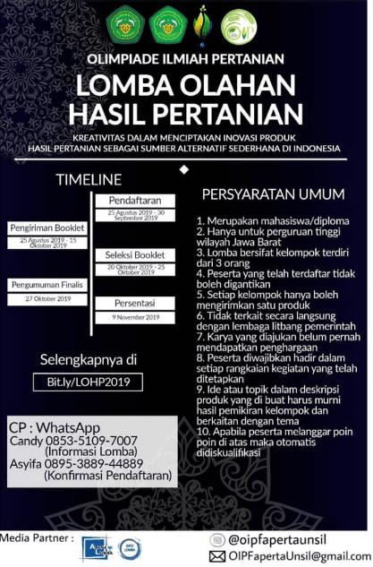 Lomba Olahan Hasil Pertanian LOHP Univ. Siliwangi 2019 Mahasiswa Se-Jawa Barat