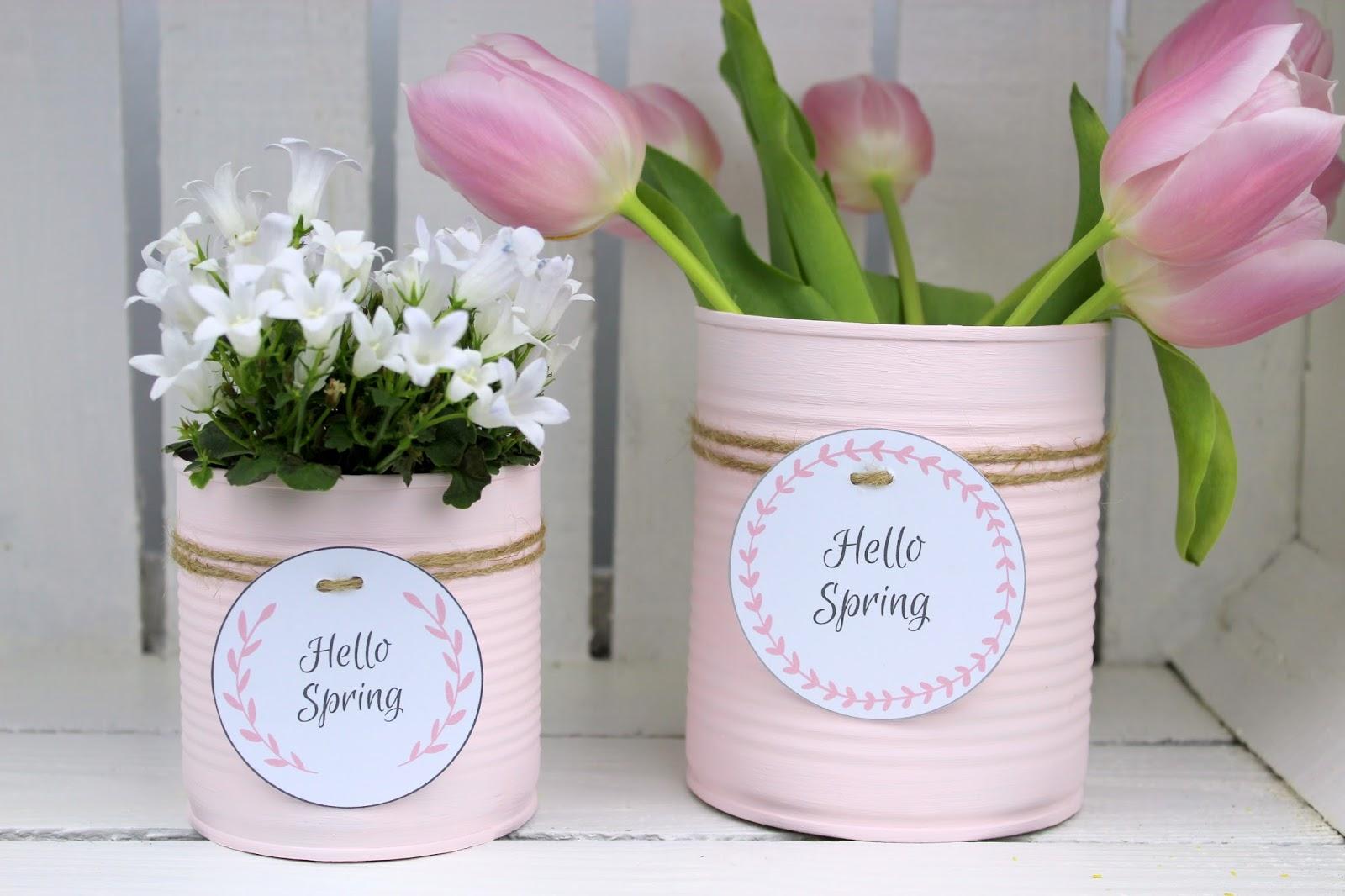 DIY Recycling Bastelidee: Blumentopf aus Konservendose in zartem rosa + kostenlosem Etikett