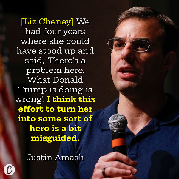 [Liz Cheney] We had four years where she could have stood up and said, 'There's a problem here. What Donald Trump is doing is wrong'. I think this effort to turn her into some sort of hero is a bit misguided. — Former Rep. Justin Amash of Michigan
