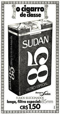 cigarros Sudan, propaganda anos 70; história decada de 70; reclame anos 70; propaganda cigarros anos 70; Brazil in the 70s; Oswaldo Hernandez;