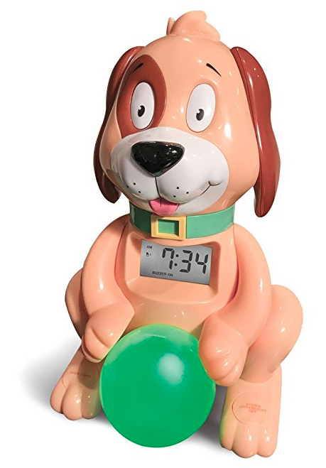 Red Dog Ready to Wake Clock