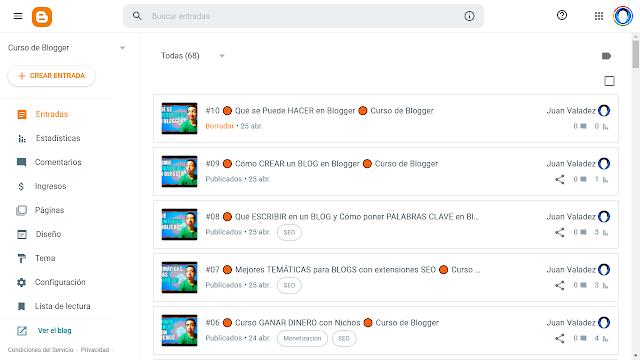 Entradas en Blogger