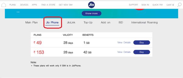 Jio Phone Recharge