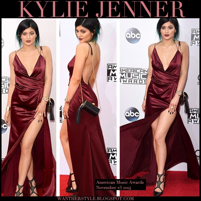 9c74a166d88 Kylie Jenner in burgundy satin backless slit gown get the look want her  style red carpet