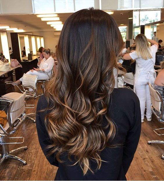 08 long brown hair with caramel highlights