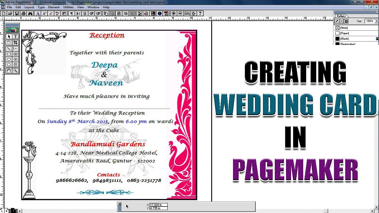 creating wedding card in pagemaker  computersadda