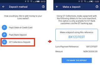 Enat DigitalBiz @Luno naira deposit method using gt collections