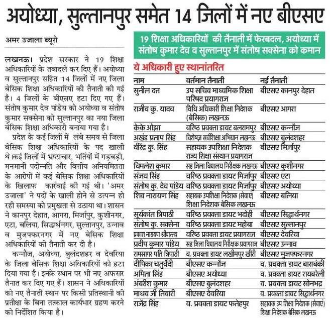 अयोध्या, सुल्तानपुर समेत 14 जिलों में नए बीएसए