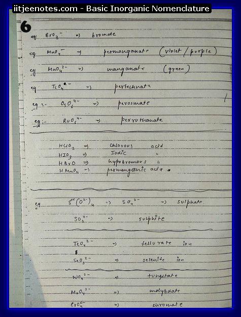 Inorganic Nomenclature6