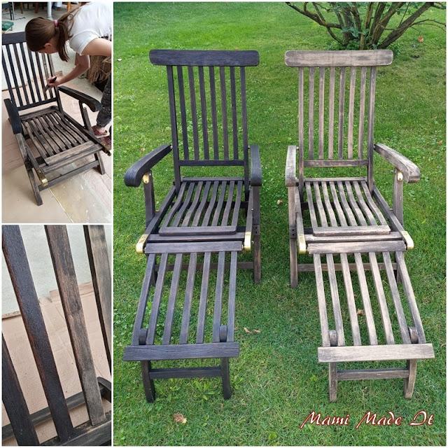 Liegestühle eingeölt - Oiled our deck chairs