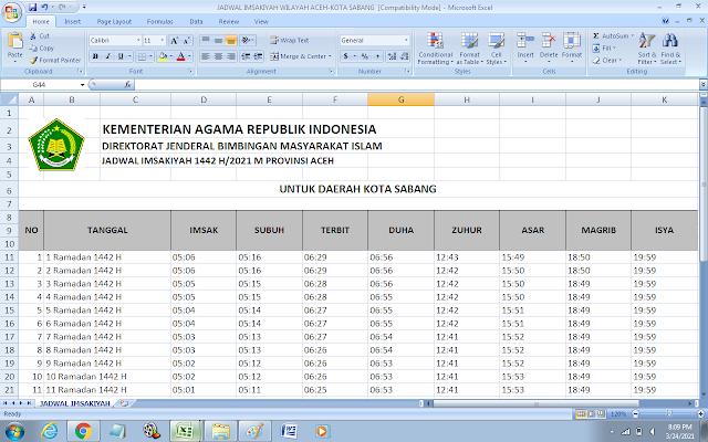 Jadwal Imsakiyah Ramadhan 1442 H Kota Sabang, Provinsi Aceh