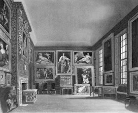 The Queen's Bedchamber, Kensington Palace, from The History  of the Royal Residences by WH Pyne (1819)