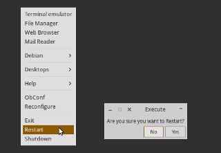 Bagaimana cara membuat tombol shutdown dan restart pada window manager Openbox di distro GNU/Linux keluarga Ubuntu?