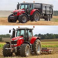 Tarlada römork ve pulluk takılmış traktörler