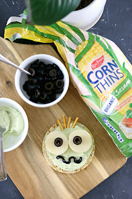 Frankenstein Monster Rice Cake - Healthy Halloween Snack Recipes - Healthy, gluten free, lunchbox ideas, healthy rice cake topping ideas, kids birthday party ideas