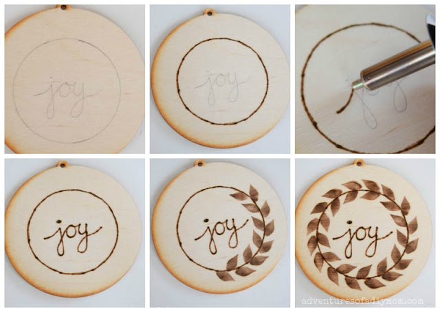 collage of pictures showing steps to making a wood burned ornament