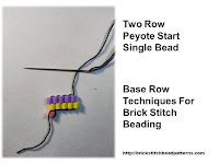 Click the image to view the two row or peyote start base row beading tutorial.