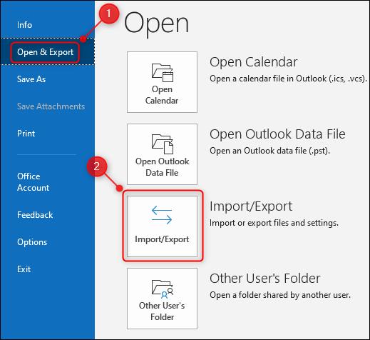 """خيار """"استيراد / تصدير"""" في Outlook."""