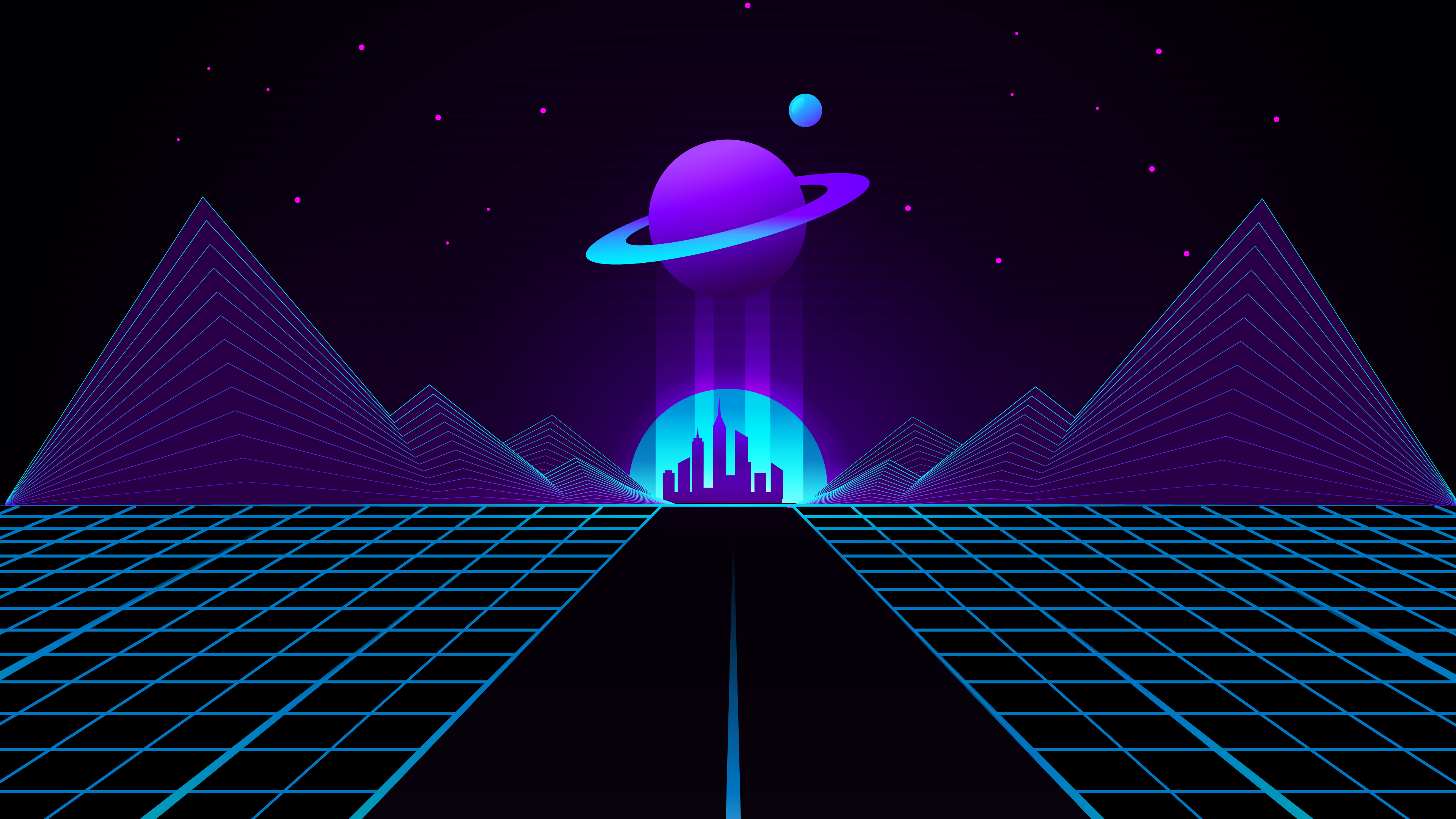 RETRO WAVE OUTRUN WALLPAPER HD FOR DESKTOP