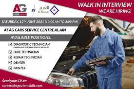 AG Cars Service LLC Abu Dhabi Recruitments Technician, Painter, Denter and Senior Technician For German & European Cars in Abu Dhabi, UAE