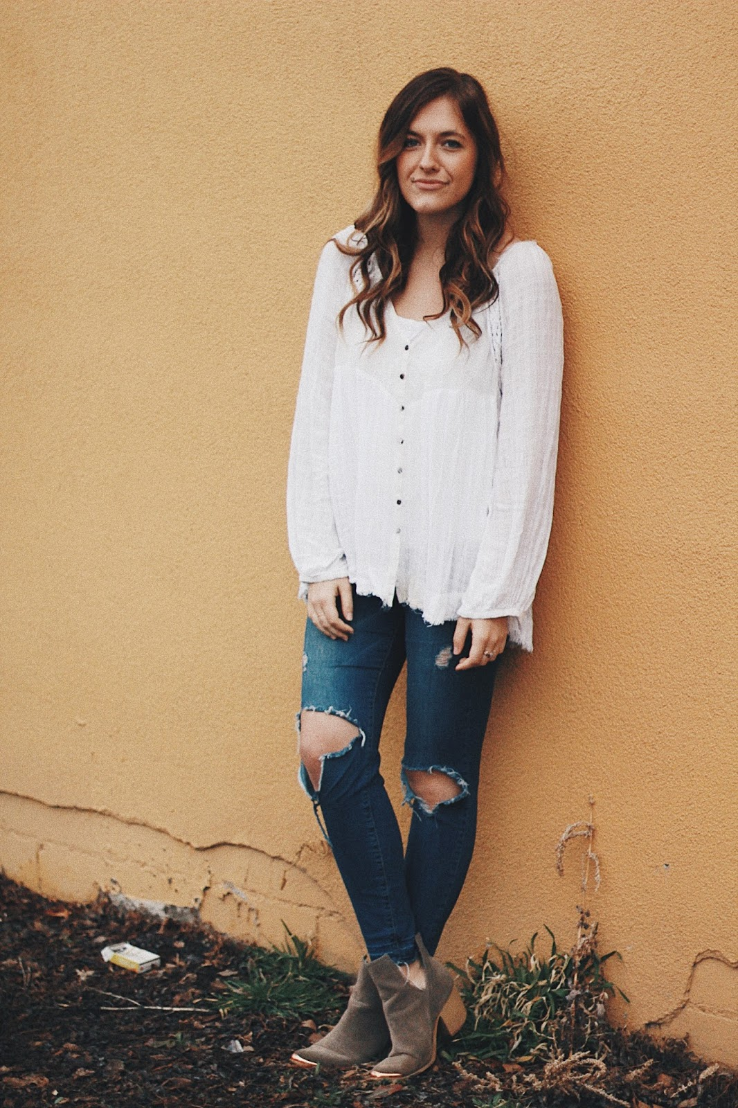 free people white peasant blouse casual outfit