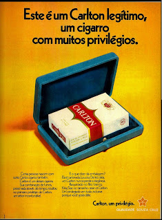 propaganda cigarros Carlton - 1972; propaganda anos 70; história decada de 70; reclame anos 70; propaganda cigarros anos 70; Brazil in the 70s; Oswaldo Hernandez;