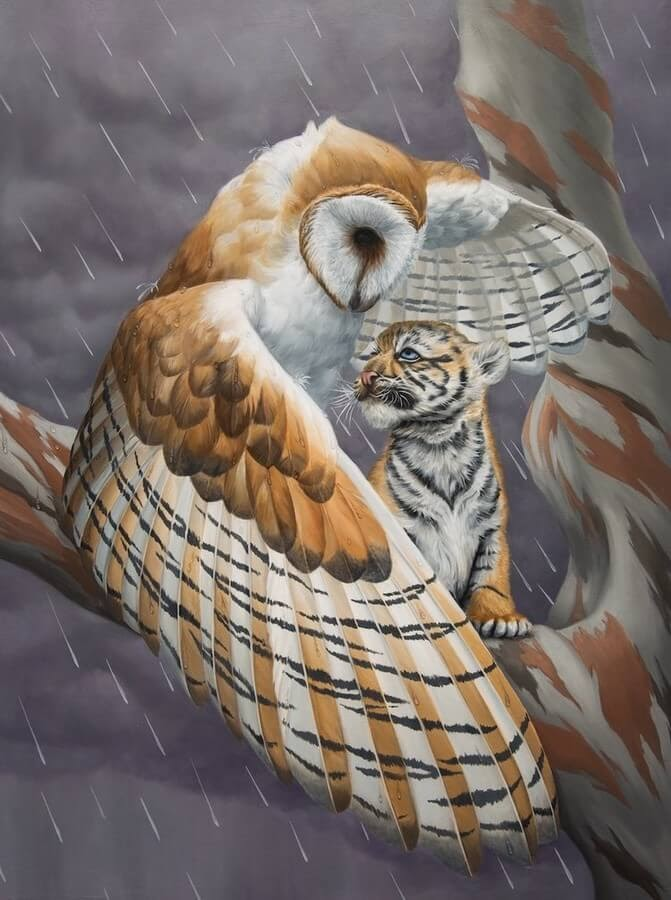 07-Owl-and-Tiger-Cub-Jon-Ching-Animal-Oil-Paintings-www-designstack-co