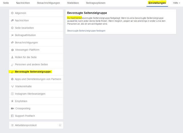 Bevorzugte Seitenzielgruppe Facebook Interessen