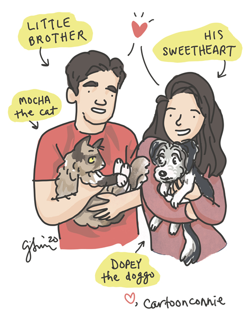 Illustration of younger brother, his sweetheart, cat and dog, engagement, drawing by Connie Sun, cartoonconnie