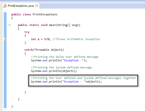 how to catch exception from another class java