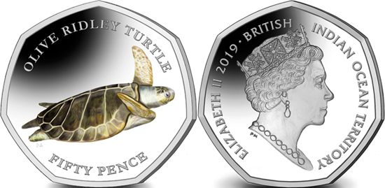 British Indian Ocean Territory 50 pence 2019 Olive Ridley turtle