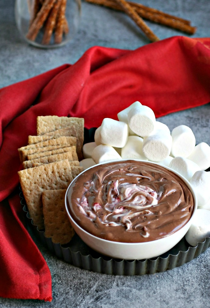 Recipe for a creamy brownie flavored sweet dip with a cherry swirl.