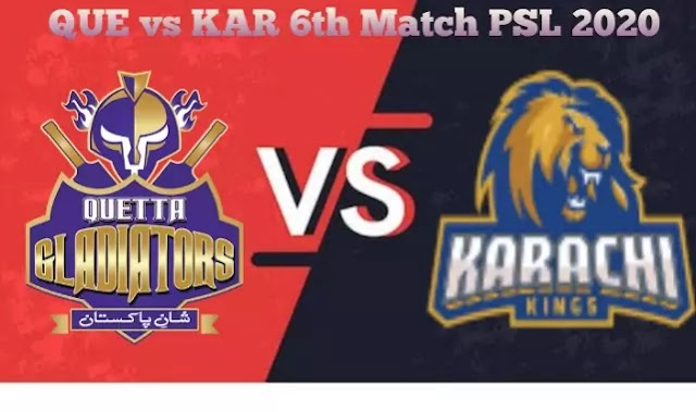Today Match Prediction- KAR Vs QUE 6th Match PSL 2020-Who Will Win