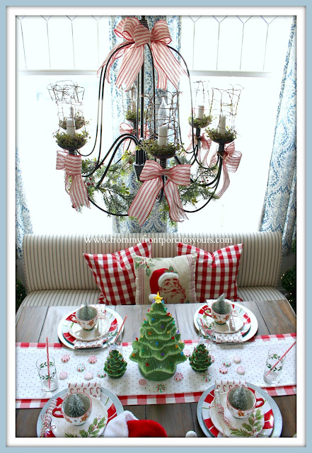 Cottage- Farmhouse -Christmas- Breakfast -Nook-Red- Ticking -Stripe-Bows-From My Front Porch To Yours