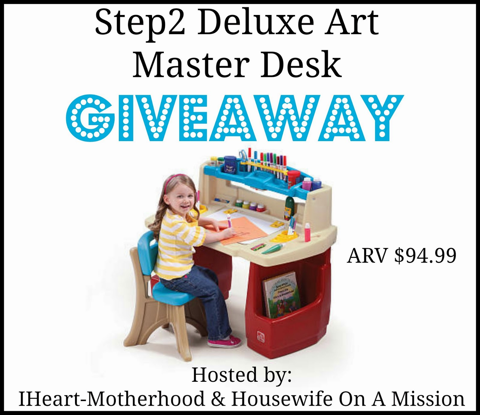 Enter the Step2 Deluxe Art Master Desk Giveaway. Ends 10/29.